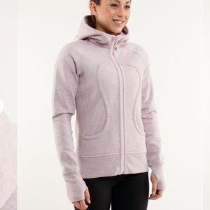 Greyish pinkish scuba hoodie